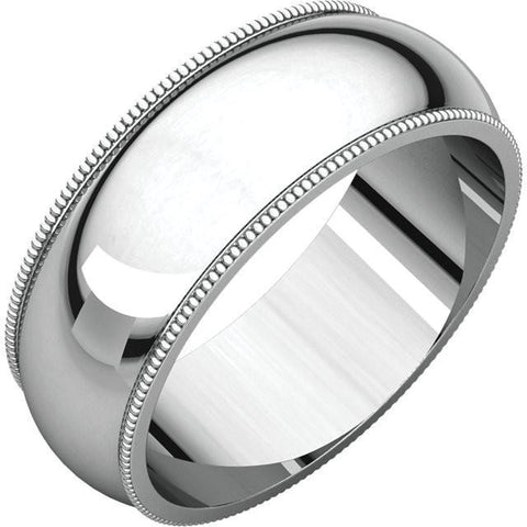 7mm Milgrain 18K White Gold Wedding Band