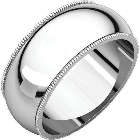 8mm Milgrain 18K White Gold Wedding Band