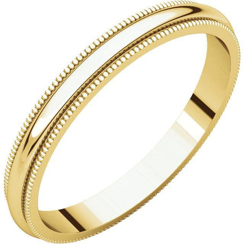 2.5mm Milgrain 18K Yellow Gold Wedding Band