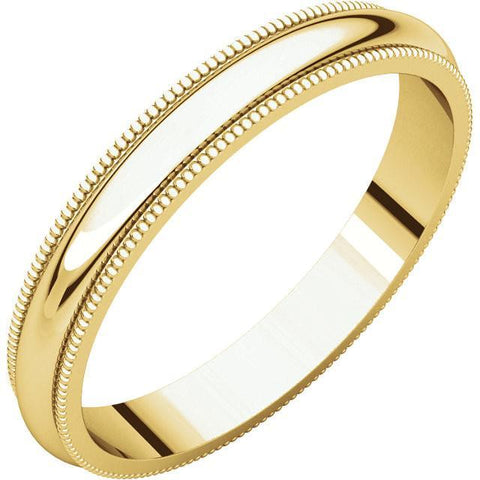 3mm Milgrain 18K Yellow Gold Wedding Band