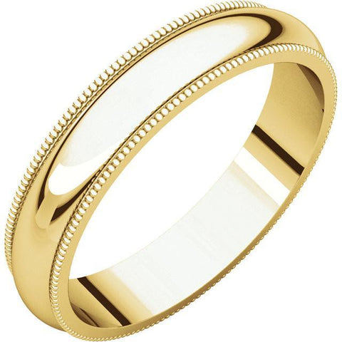 4mm Milgrain 18K Yellow Gold Wedding Band