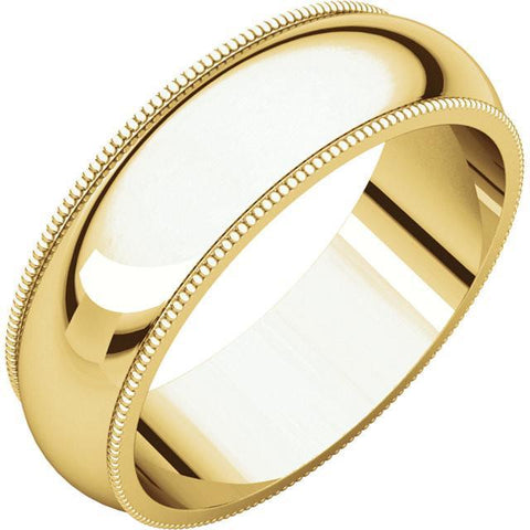 6mm Milgrain 18K Yellow Gold Wedding Band