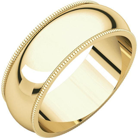 7mm Milgrain 18K Yellow Gold Wedding Band