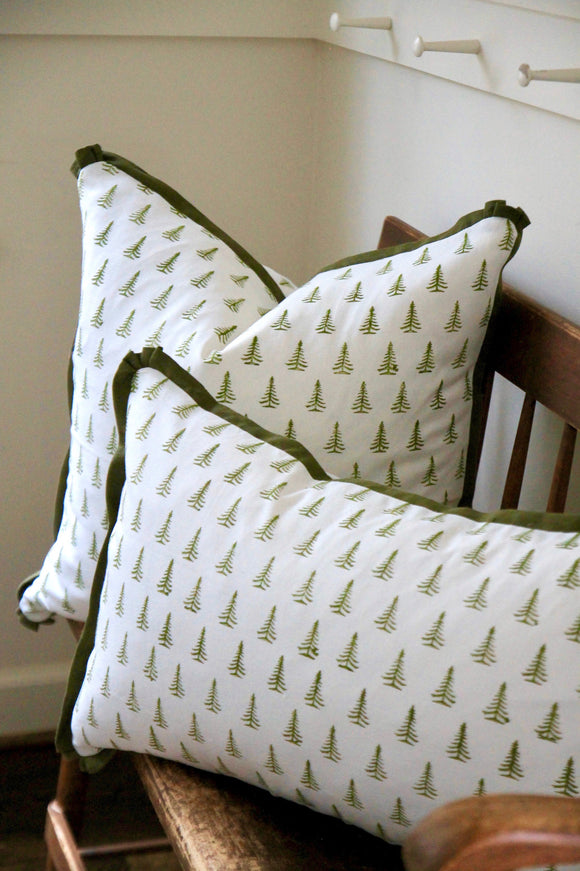 Green Tree Pillows with Green Flange