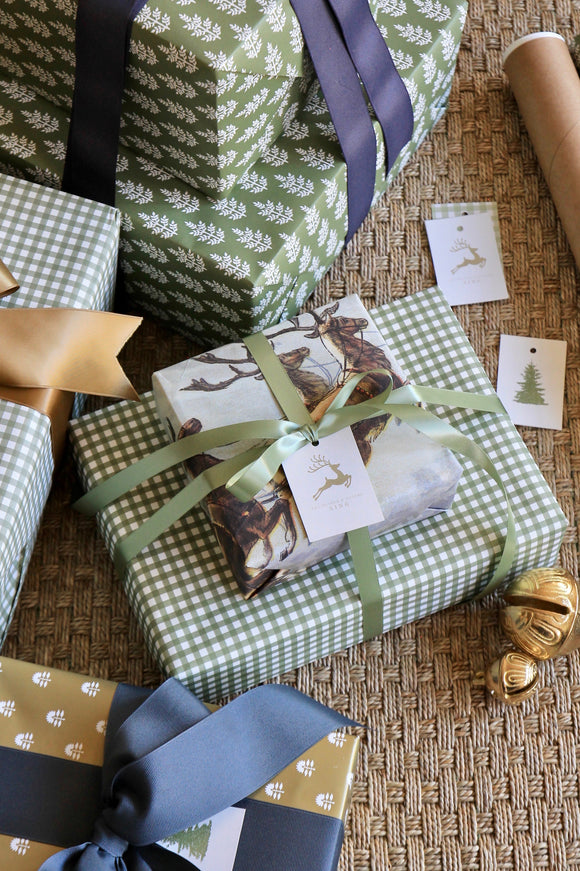 Green Gingham Wrapping Paper