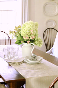 Natural Ticking Stripe Dinner Napkins & Table Runner