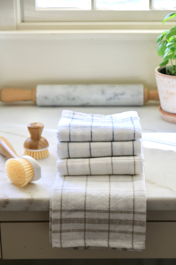Classic Check Stripe Cotton Towels | 2 Colors