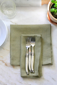 Solid Green Linen Napkins & Runner