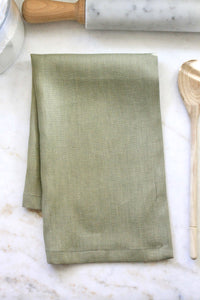 Solid Green Linen - Tea Towel