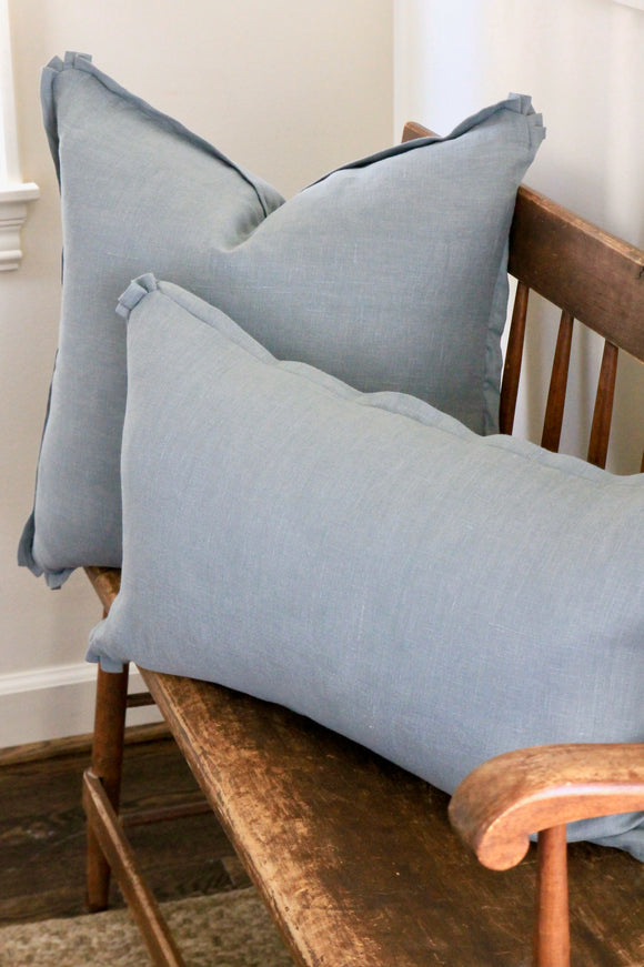 Blue Linen Pillow Covers | 2 sizes