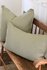 Green Linen Pillow Covers | 2 sizes