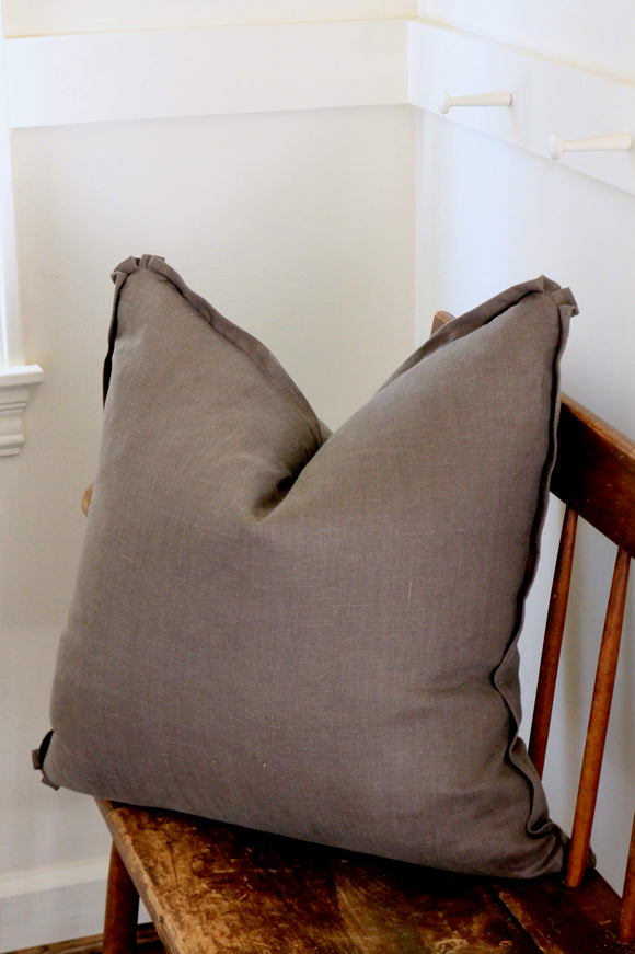 Warm Grey Solid Linen Pillow