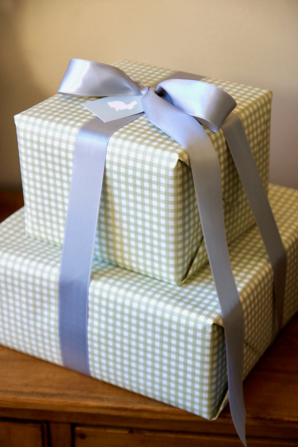 Light Green Gingham Wrapping Paper