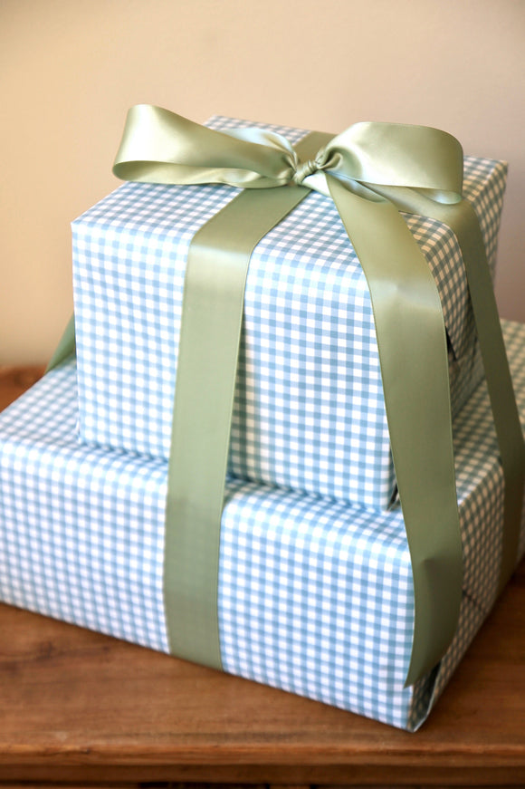 Light Blue Gingham Wrapping Paper