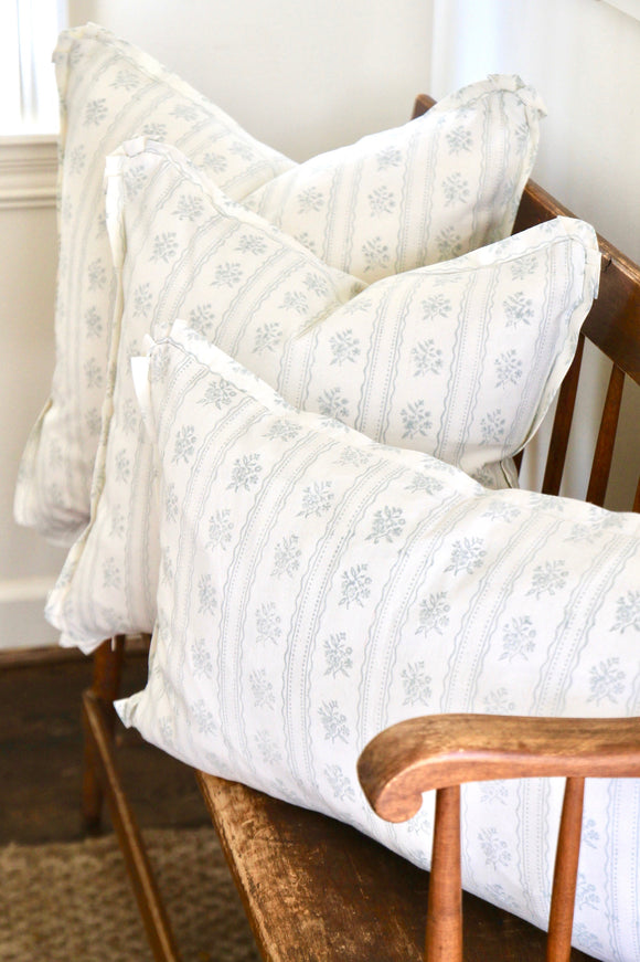 Light Blue Wallpaper Pillows with Same Fabric Flange