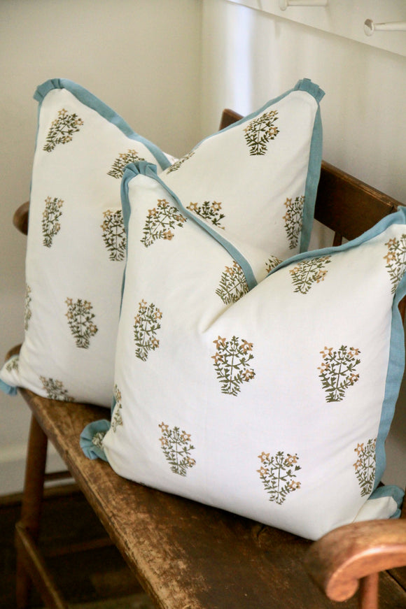 Tessa Flower Pillows with Meadow Flange