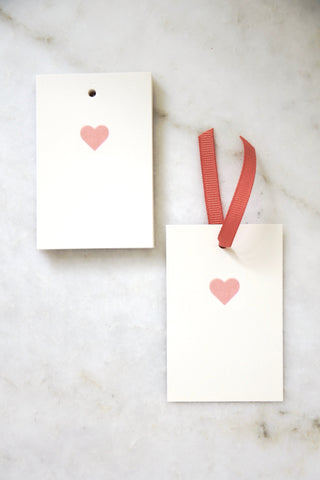 Light Pink Heart Tags - Set of 10