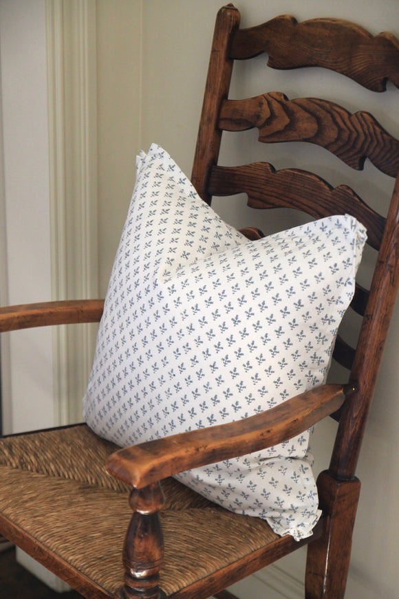 Blue Fleur Pillows with Flange | 3 Sizes