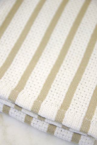 Classic Oatmeal Stripe Cotton Towel