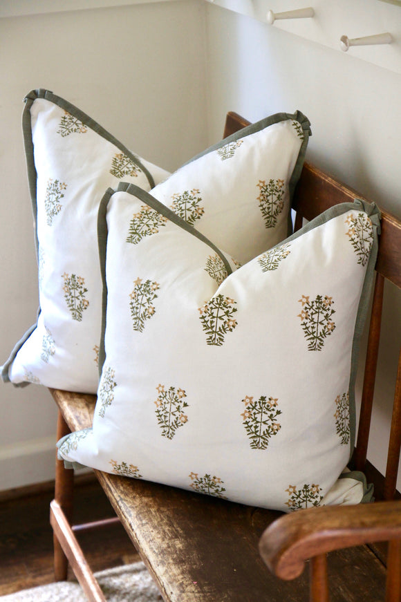 Harvest Flower Pillows with French Green Trim