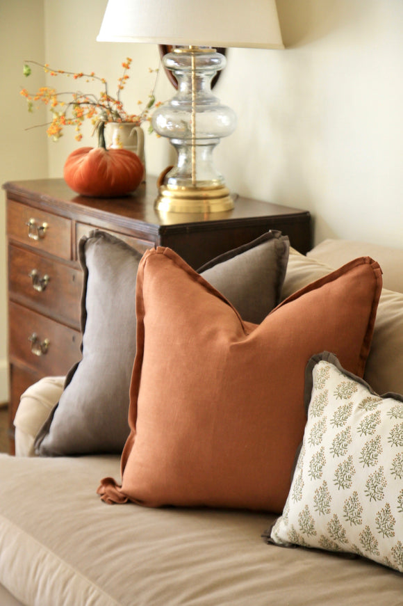 Solid Linen Pillows with Flange