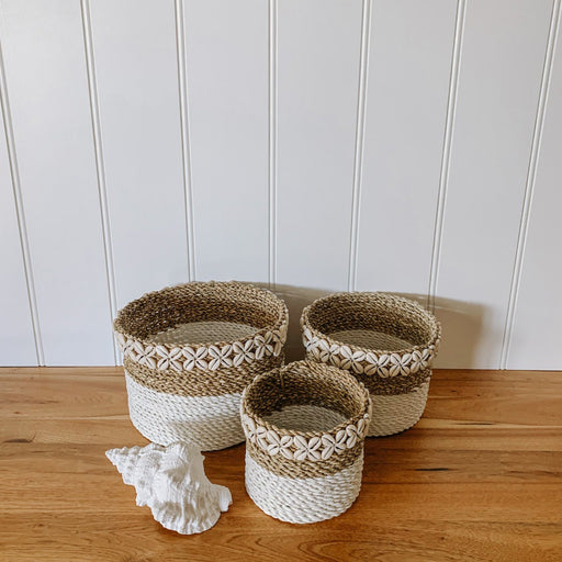 Cowrie Shell Seagrass Basket Set