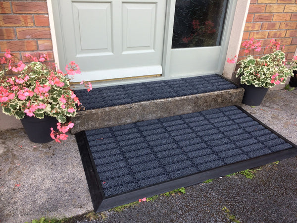Outdoor modular scrapper mats