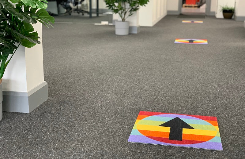 Social Distancing Printed Carpet Tiles - Chase The Rainbow