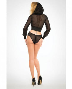 Adore Fishnet Bodysuit Hoodie & Cut Out Back Black Md by Risque Fetish Toys