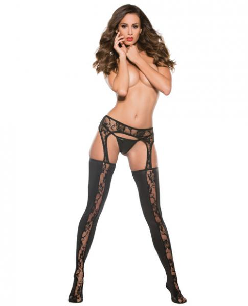 Kitten Lace & Wet Look Garter Tights Black O-S by Risque Fetish Toys