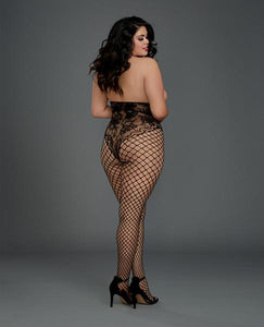 Open Cup Open Crotch Bodystocking Knitted Lace Teddy Black Qn by Risque Fetish Toys