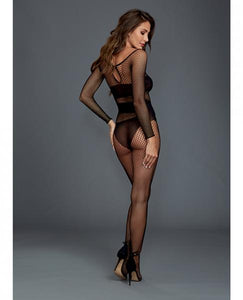 Fishnet Long Sleeves Bodystocking Boat Neck Black O-S by Risque Fetish Toys