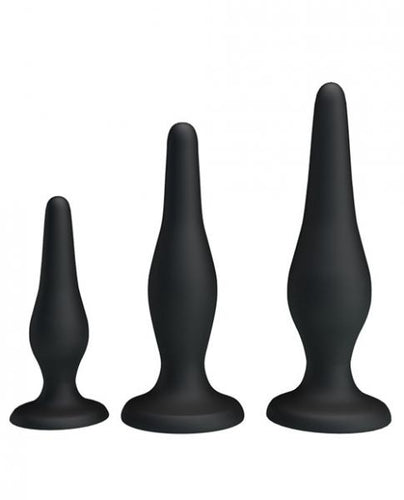 Pretty Love Beginner's Mini Anal Kit Black Set Of 3 by Risque Fetish Toys
