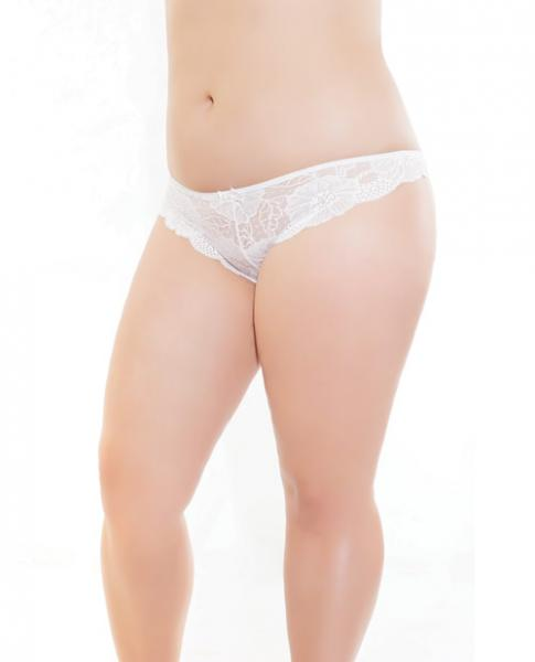 Low Rise Stretch Scallop Lace Panty White XL by Risque Fetish Toys