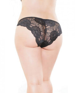 Low Rise Stretch Lace & Satin Panty Black Red OS-XL by Risque Fetish Toys