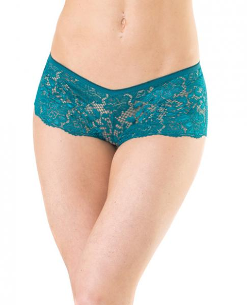 Low Rise Stretch Scallop Lace Booty Shorts Teal O-S by Risque Fetish Toys