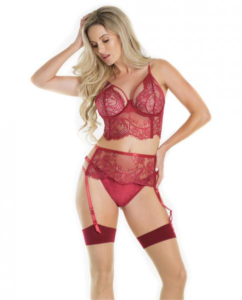Lace Bra Cutaway Cups, Garter & Thong Merlot Md by Risque Fetish Toys