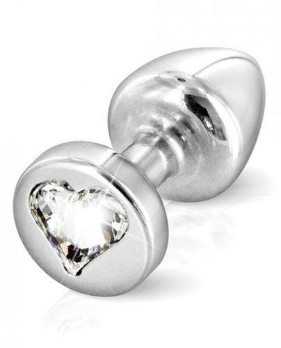 Diogol Anni R Heart T1 Crystal Silver Butt Plug by Risque Fetish Toys