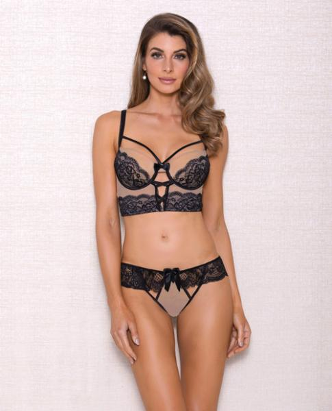 Mesh Multi Strap Lace Bra & Panty Nude Black XL by Risque Fetish Toys