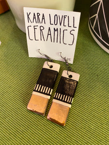 Black and gold rectangle Earrings