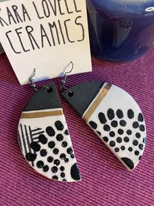 Abstract black and white earrings