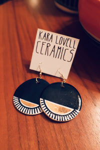 Navy and gold earrings