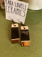 Load image into Gallery viewer, Black and gold color block earrings
