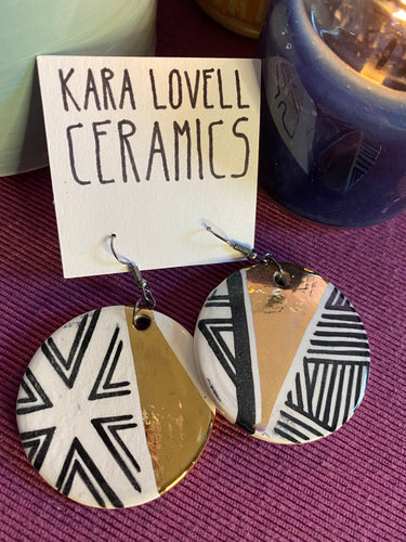 Abstract black and gold earrings