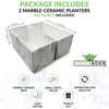 GreenBoxx Ceramic-Marble Pots for Plants - 2 pots - no plants included