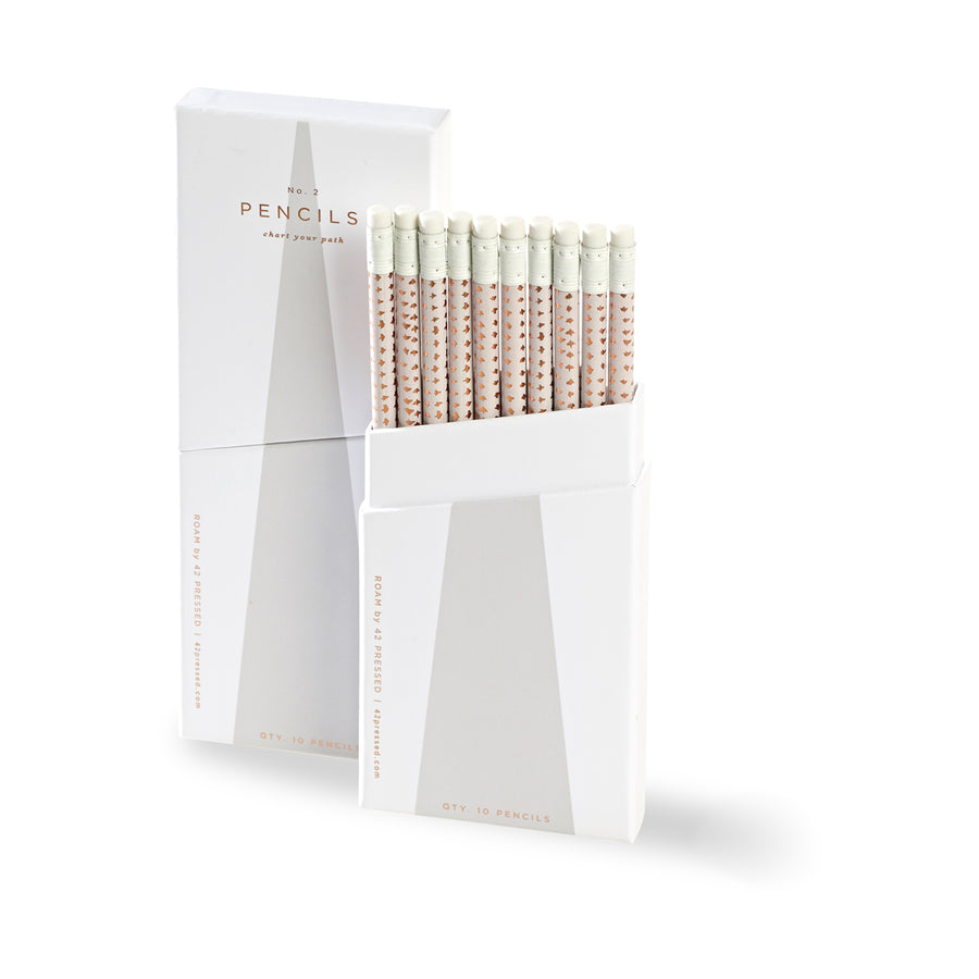 42 Pressed Light Grey Box Pencil Set Of Ten - GREER Chicago Online Stationery Shop