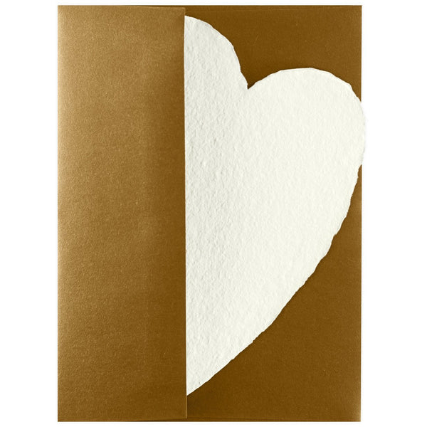 Handmade Paper Hearts Cream Large By Oblation Papers & Press - 1