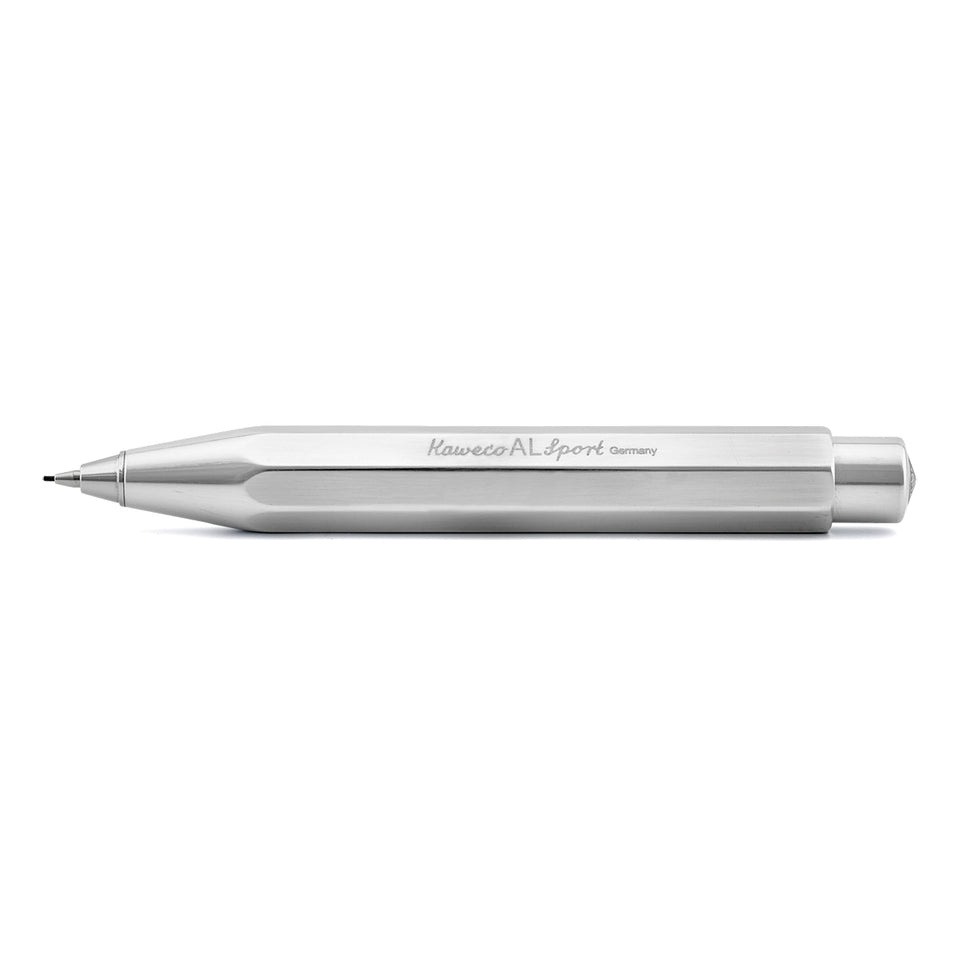 Kaweco AL Sport Raw Aluminum High Gloss Polish 0.7 mm Lead Mechanical Push Pencil