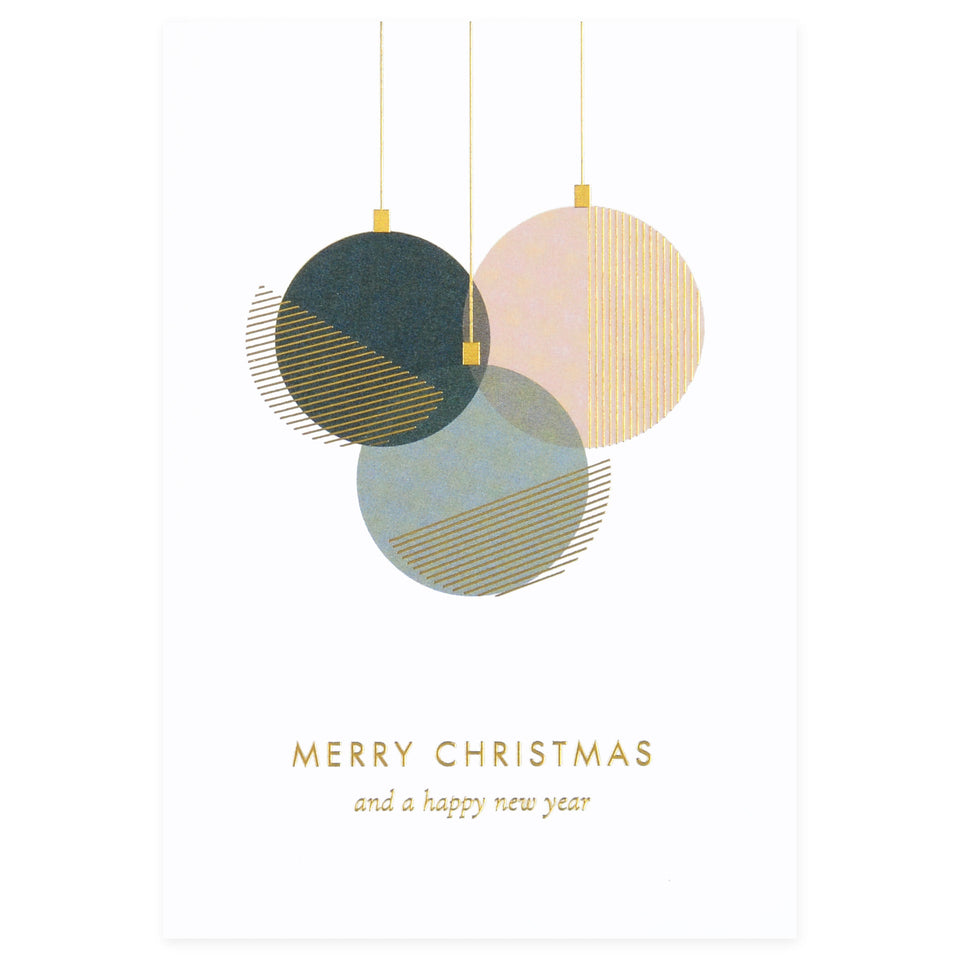 À L'aise Foil Printed Christmas Cards Set or Single Merry Christmas Bauble single