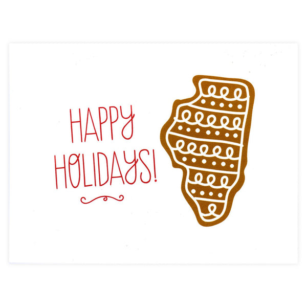 Alisa Bobzien Illinois Gingerbread Holiday Cards Boxed - GREER Chicago Online Stationery Shop